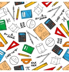 Education seamless pattern of school supplies vector