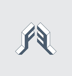 F3 - monogram or logotype isometric 3d font vector