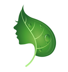Face of woman and green leaf vector