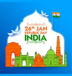 famous indian monument and landmark for happy vector image