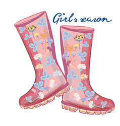 fashion with girlish pink rubber boots for design vector image