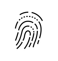 fingerprint - line design single isolated icon vector image