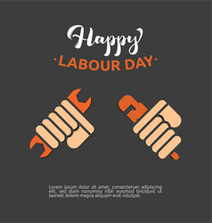 first may with clenched fist happy labour day vector image