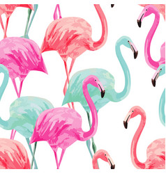 Flamingo pink and blue watercolor seamless vector