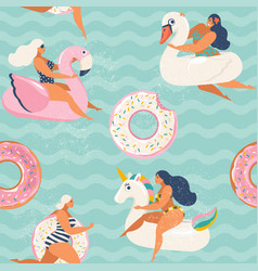 Flamingo unicorn swan and sweet donut inflatable vector