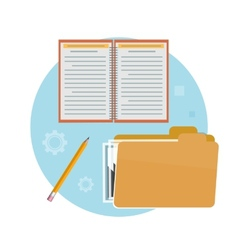 Folder notebook and pencil vector