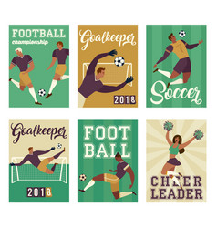 football soccer player set posters characters vector image