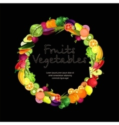 Fruits and vegetables are collected in a wreath vector image