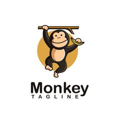 fun playful swing monkey holding banana logo icon vector image