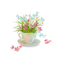 Grass and flowers in the cup vector