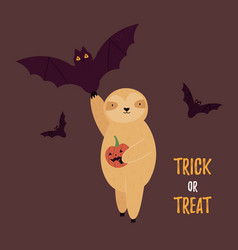 halloween card with funny sloth and bat vector image
