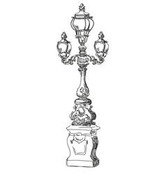 hand drawing street lamp in paris vector image