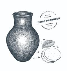 Hand drawn sketch style milk clay jug organic vector