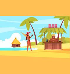 hawaii beach bar composition vector image