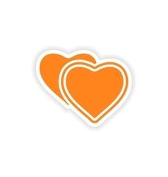 icon sticker realistic design on paper heart vector image