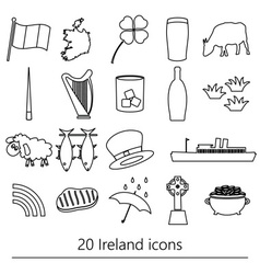 Ireland country theme symbols outline icons set vector
