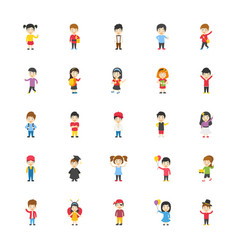 kids cartoon characters flat icons pack vector image