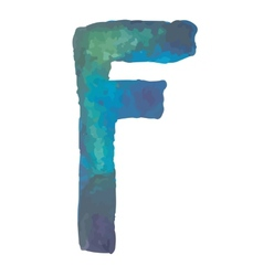 Letter F Colorful watercolor aquarelle font type vector