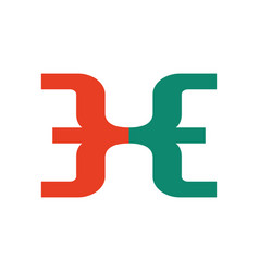 letter h connect logo vector image