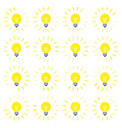 light bulb rotating rays animation sprite in flat vector image