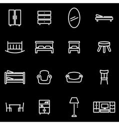 Line furniture icon set vector