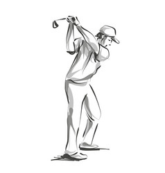 Line sketch golfer vector