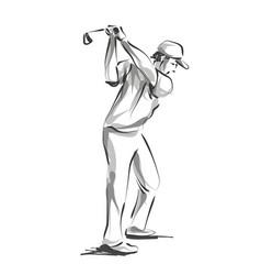 line sketch golfer vector image
