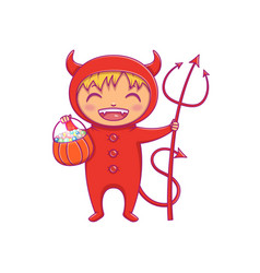 Little boy in halloween costume of devil laughing vector