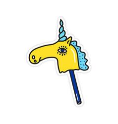 magic colorful bright unicorn sticker vector image