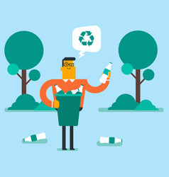 Man picking up plastic bottle in a recycling bin vector