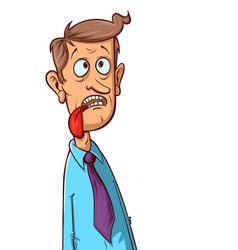 Man shows tongue vector