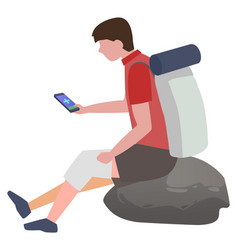 man with injured knee using phone to connect doc vector image