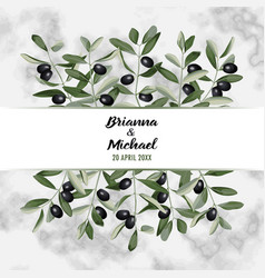 Marble wedding invitation card with olive brunches vector