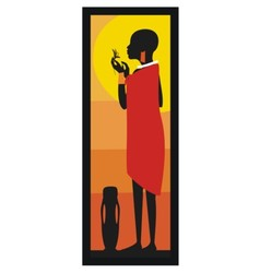 Masaj Woman standing against african sunset vector image