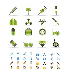 medical themed icons and warning-sign vector image