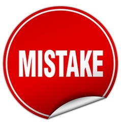 Mistake round red sticker isolated on white vector