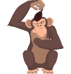 Monkey with a grenade vector