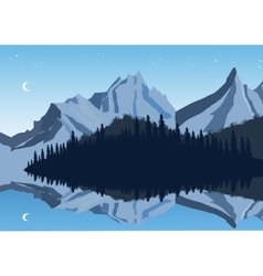 Mountains and sky reflection in a lake with forest vector