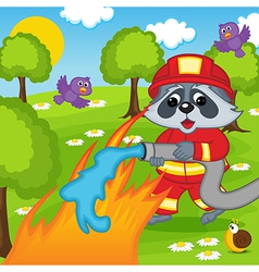 Raccoon firefighter extinguishes fire in forest vector