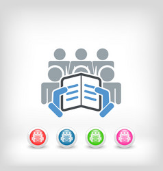 reader with a group of listeners concept icon vector image
