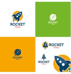 Rocket pixels vector