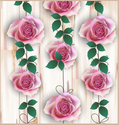 roses realistic on wood background vector image