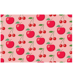 Rosy fruit seamless pattern with apples vector