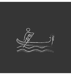 Sailor rowing boat drawn in chalk icon vector