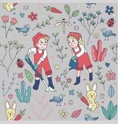 seamless pattern cute gardening wallpaper vector image