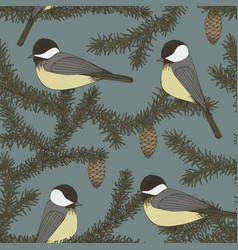 seamless pattern with branches of fir and birds vector image