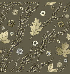seamless pattern with hand drawing herbs vector image