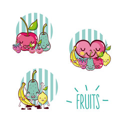 set cute fruits cartoons vector image