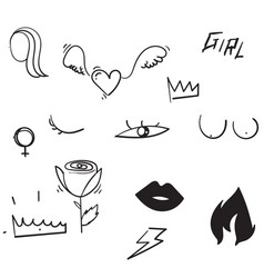 Set doodle feminism elements and text feminist vector