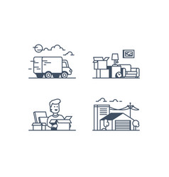 Set icons with moving funny man storage vector
